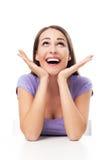 Verraste jonge vrouw Stock Foto