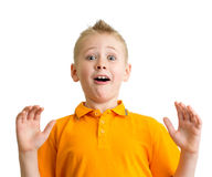 Verraste jongen met grappige geïsoleerde uitdrukking Royalty-vrije Stock Foto's