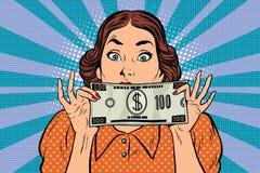 Verraste mooie retro vrouw, bankbiljet honderd dollars vector illustratie