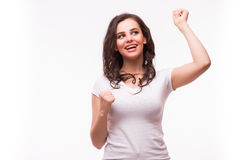 Verraste opgewekte gelukkige gillende geïsoleerde vrouw Royalty-vrije Stock Foto