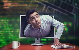 Verraste zakenman van het scherm royalty-vrije stock foto
