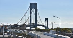 Verrazano bridge access road new york renovation. Verrazano-Narrows bridge opened in 1964 connected Brooklyn and Staten Island of New York , this is one of the royalty free stock image