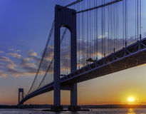 Verrazano Bridge. Color picture of Verrazano bridge in NYC in sunset stock images