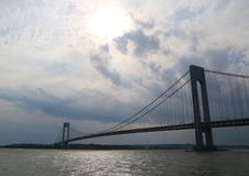 Verrazano Bridge at dusk in New York Stock Images