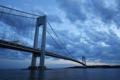 Verrazano Bridge at dusk in New York Stock Photography
