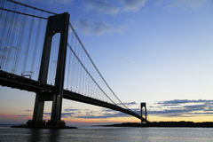 Verrazano Bridge in New York. The Verrazano Bridge is a double-decked suspension bridge that connects the boroughs of Staten Island and Brooklyn in New York stock photos