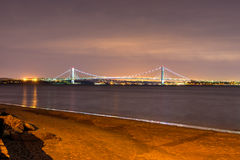 Verrazano Bridge at Night from Coney Island Royalty Free Stock Photos