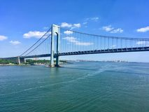 Verrazano Bridge, NY. Verrazano-Narrows Bridge is double-decked suspension bridge that connects New York City boroughs of Staten Island and Brooklyn stock photo