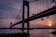 Verrazano bridge seen at dusk Stock Photography