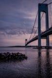 Verrazano bridge seen at dusk Stock Images