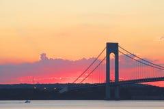 Verrazano Bridge at sunset in New York. Royalty Free Stock Photo