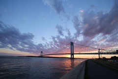 Verrazano Bridge at sunset in New York Royalty Free Stock Image
