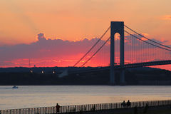 Verrazano Bridge at sunset in New York. NEW YORK - SEPTEMBER 18:Verrazano Bridge at sunset in New York on September 18, 2014.The Verrazano Bridge is a double royalty free stock images