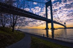 Verrazano-Narrows Bridge. Verrazano Bridge at Sunset, New York, USA stock images