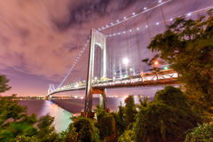 Verrazano Bridge Underpass. Verrazano Bridge as seen from Staten Island leading into Brooklyn, New York at night royalty free stock images