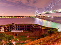 Verrazano Bridge Underpass. Verrazano Bridge and Fort Wadsworth in Staten Island leading into Brooklyn, New York at night stock image