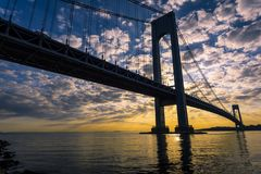 Verrazano-Narroes Bridge. Verrazano Bridge at Sunset, New York, USA royalty free stock image