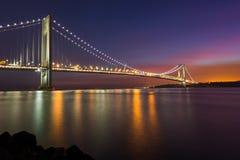 Verrazano Narrow Bridge. Colorful sunset sky at the Verrazano Narrow Bridge, New York stock images