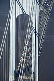 Verrazano-Narrow's Bridge. Aerial view of New York City's Verrazano-Narrow's bridge with traffic royalty free stock photos