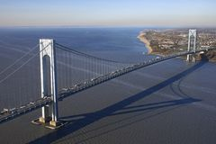 Verrazano-Narrow's Bridge. Aerial view of New York City's Verrazano-Narrow's bridge stock photos