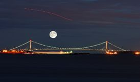The Verrazano Narrows Bridge. In New York Harbor royalty free stock photo