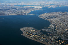 Verrazano Narrows Bridge Aerial View. An aerial view of Verrazano Narrows Bridge royalty free stock photo