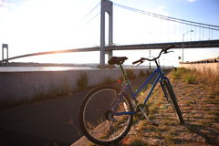 The Verrazano-Narrows Bridge and bicycle. Bicycle close to Verrazano-Narrows Bridge , The largest and longest bridge in New York City stock image