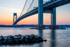 Verrazano-Narrows bridge in Brooklyn, NYC after sunset Stock Photo