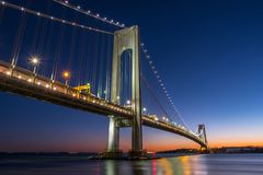 Verrazano-Narrows bridge in Brooklyn, NYC after sunset. Verrazano-Narrows bridge in Brooklyn and Staten Island, NYC after sunset stock photography
