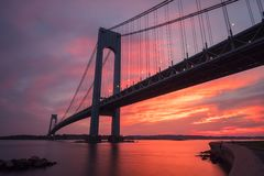 Verrazano-Narrows bridge in Brooklyn and Staten Island, NYC at s. Verrazano-Narrows bridge in Brooklyn and Staten Island in New York at sunset stock images