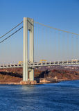The Verrazano Narrows Bridge. Is a cable stayed bridge spanning the Narrows and connecting the New York City boroughs of Staten island and Brooklyn stock photos