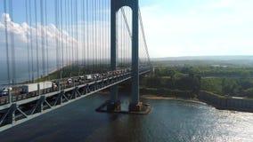Verrazano Narrows Bridge drone shot 4k stock video footage