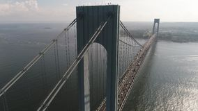 Verrazano Narrows Bridge drone shot 4k. Aerial motion video of Verrazano Narrows Bridge New York