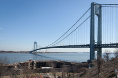 Verrazano-Narrows Bridge. The famous Verrazano-Narrows Bridge viewed from Fort Wadsworth in Staten Island, New York. The Battery Weed is seen in the lower stock photo