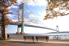 The Verrazano-Narrows Bridge. The largest and longest bridge in New York City royalty free stock image