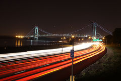 Verrazano-Narrows Bridge New York. The Verrazano-Narrows Bridge connects the New York City boroughs of Staten Island and Brooklyn. It's a double-desked royalty free stock photos