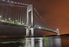 Verrazano Narrows Bridge at Night. From Brooklyn. The bridge a double-decked suspension bridge that connects the boroughs of Staten Island and Brooklyn in New royalty free stock photography