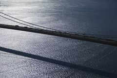 Verrazano-Narrows Bridge, NY. Aerial view of traffic on Verrazano-Narrows Bridge in New York City stock photos