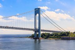 The Verrazano Bridge and Staten Island. The Verrazano-Narrows Bridge spanning Staten Island and Brooklyn New York stock photo