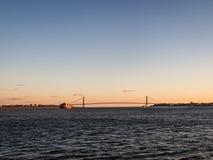 Verrazano-Narrows bridge in the sunset. In New York royalty free stock photography