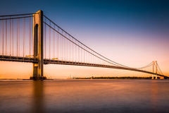 Verrazano-Narrows Bridge at sunset. As viewed from Long Island stock image