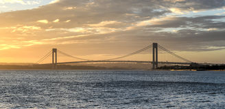 Verrazano Narrows Bridge at Sunset Royalty Free Stock Photos