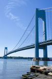 Verrazano Narrows Bridge. The Verrazano Narrows suspension bridge connecting the New York City boroughs of Brooklyn and Staten Island, spanning the narrows the stock photos