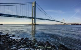 Verrazano Narrows Bridge. In the U.S. state of New York, is a double-decked suspension bridge that connects the boroughs of Staten Island and Brooklyn in New stock image