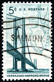 Verrazano Narrows Bridge US Postage Stamp. UNITED STATES OF AMERICA - CIRCA 1964: A used postage stamp from the USA depicting an illustration of the Verrazano royalty free stock photography