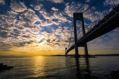 Verrazano-Narrows Bridge. Verrazano Bridge at Sunset, New York, USA royalty free stock photography