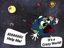 Verrückte Erde, die weg benachbarte Planeten-Karikatur-Illustration erschrickt Lizenzfreies Stockfoto