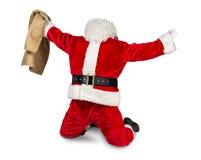 Verrückte rote weiße Weihnachtsmann-Arbeit erledigt Stockbild