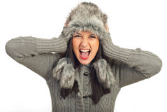Verrückte Winterfrau Lizenzfreie Stockfotos