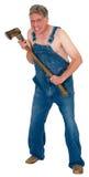 Verrückter Provinzler Hillybilly-Axt-Mord, Halloween-Mörder lokalisiert Stockbild